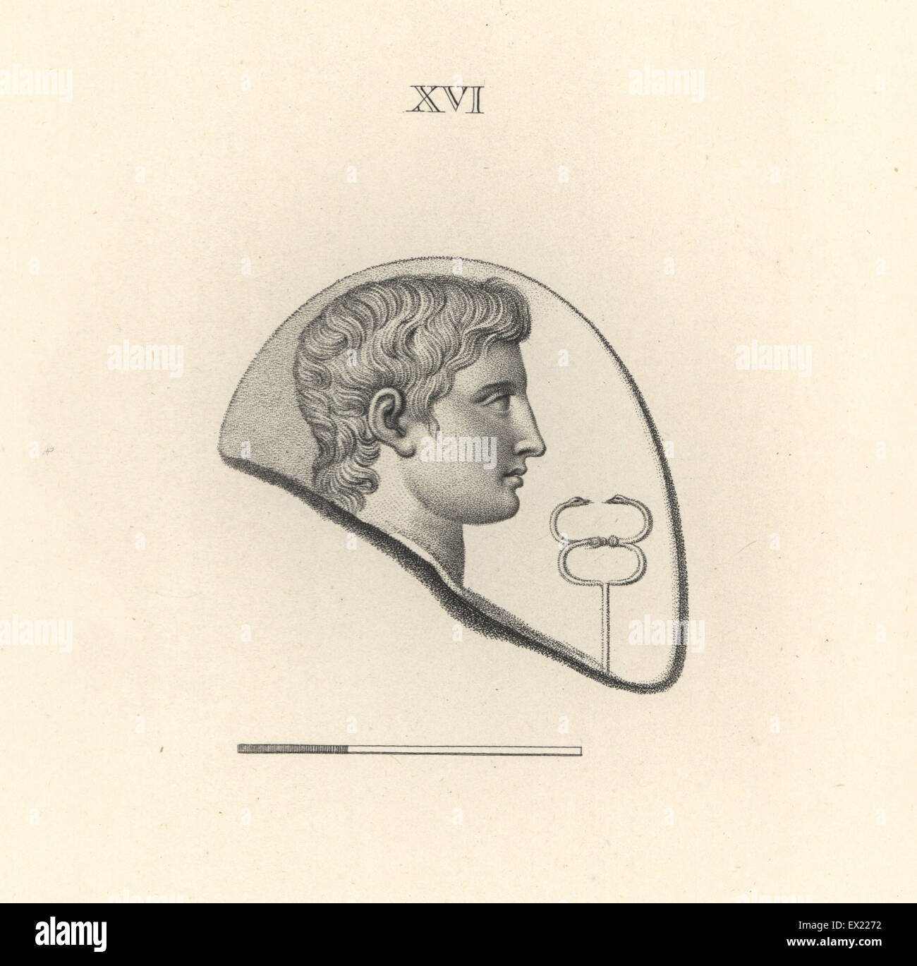 Head of Mercury, Roman god of communication, with caduceus. Copperplate engraving by Francesco Bartolozzi from 108 - Stock Image