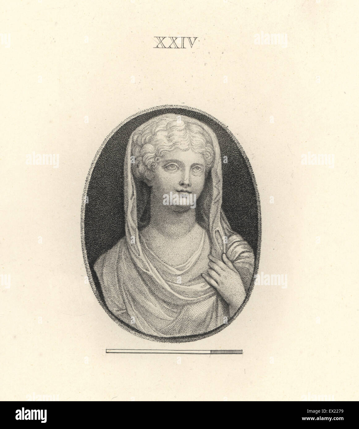 Livia Drusilla, wife of the Roman emperor Augustus. Copperplate engraving by Francesco Bartolozzi from 108 Plates - Stock Image