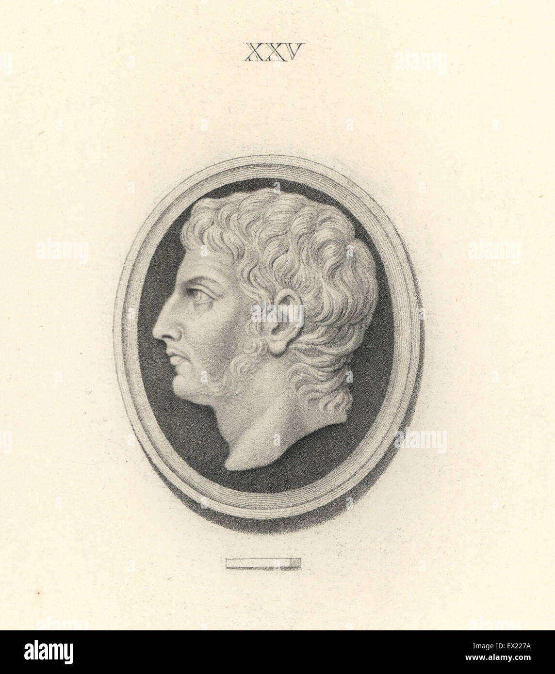 Drusus, son of Roman Emperor Tiberius. Copperplate engraving by Francesco Bartolozzi from 108 Plates of Antique - Stock Image