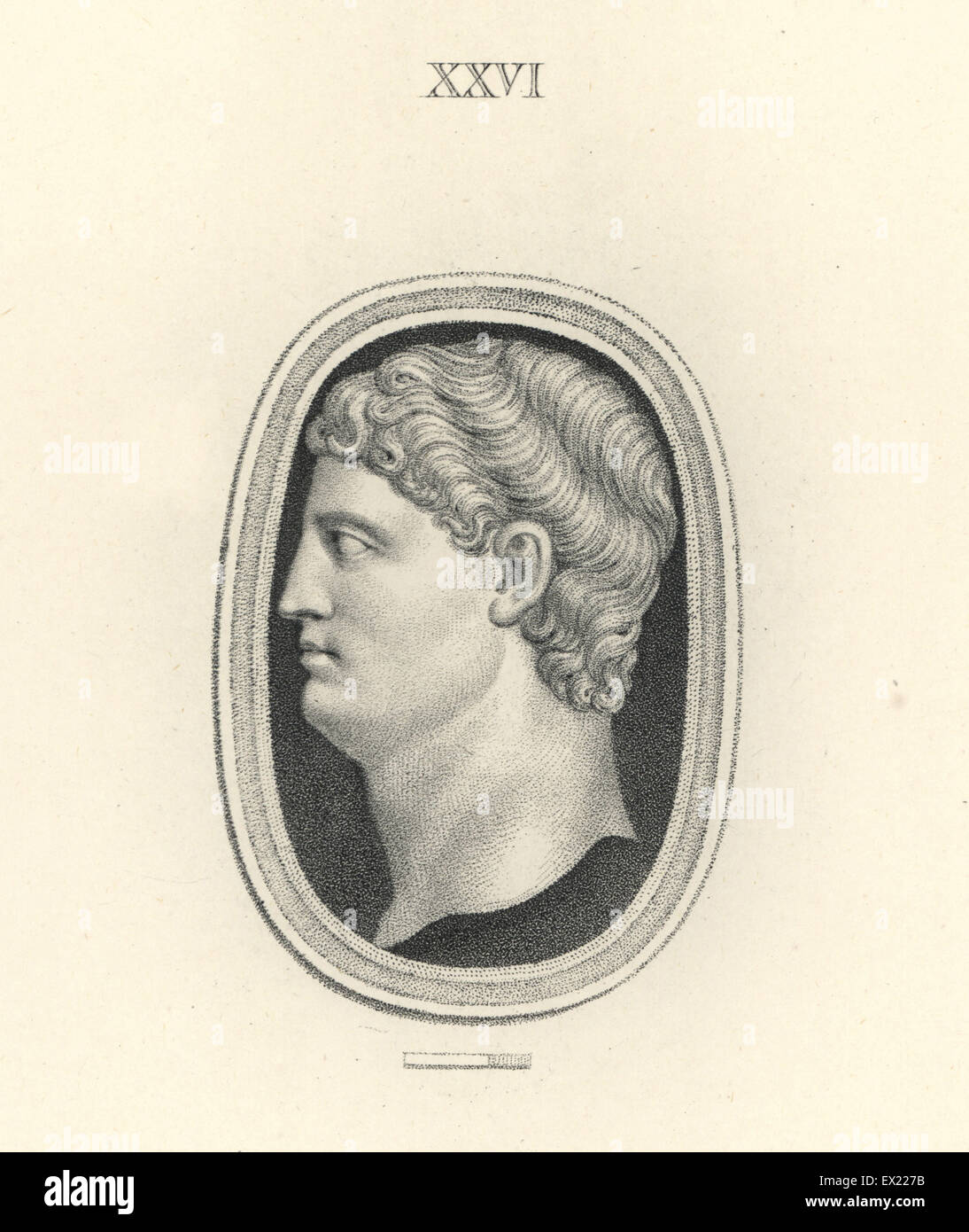 Drusus, son of Roman general Germanicus. Copperplate engraving by Francesco Bartolozzi from 108 Plates of Antique - Stock Image