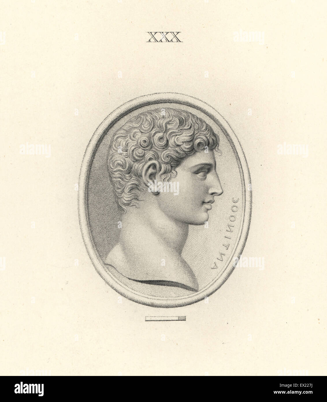 Antinous, Bithynian Greek lover of the Roman emperor Hadrian. Copperplate engraving by Francesco Bartolozzi from - Stock Image