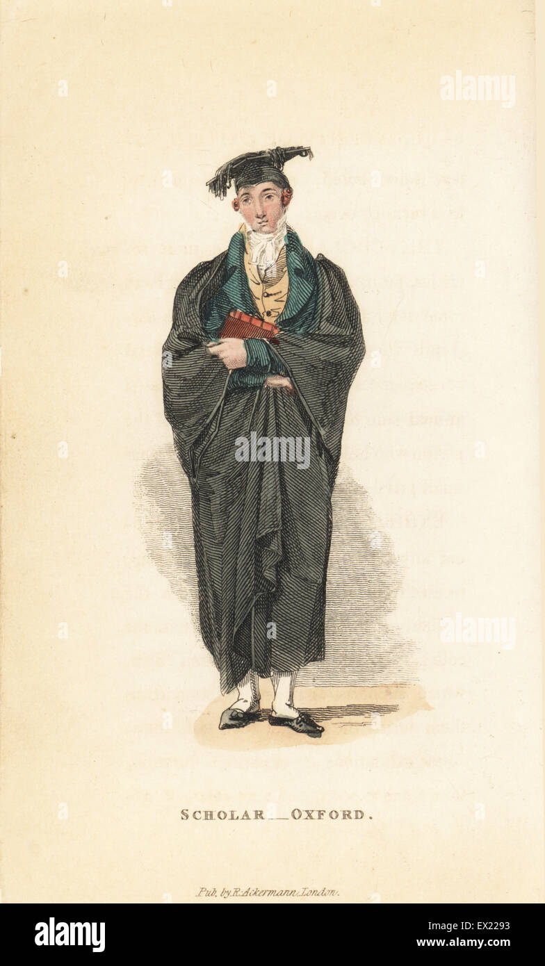 Scholar, Oxford University, early 19th century. Handcoloured copperplate engraving from William Henry Pyne's The Stock Photo