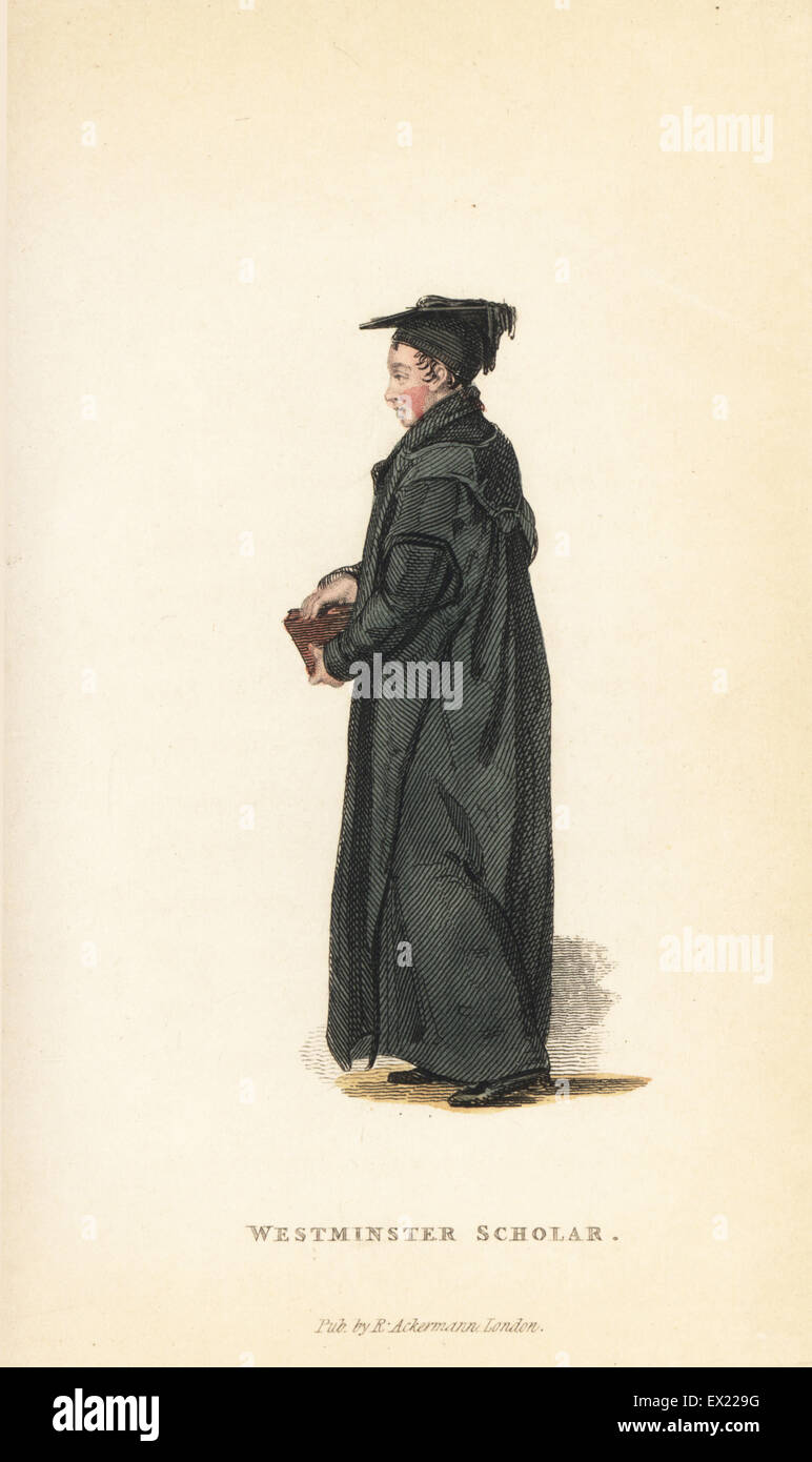 Westminster Scholar at Christ's Church, Oxford University, early 19th century. Handcoloured copperplate engraving - Stock Image