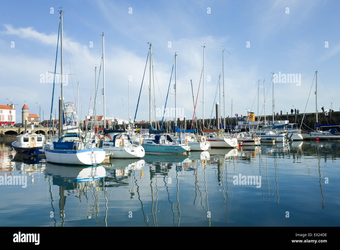 Yachts in Scarborough Harbour UK Stock Photo