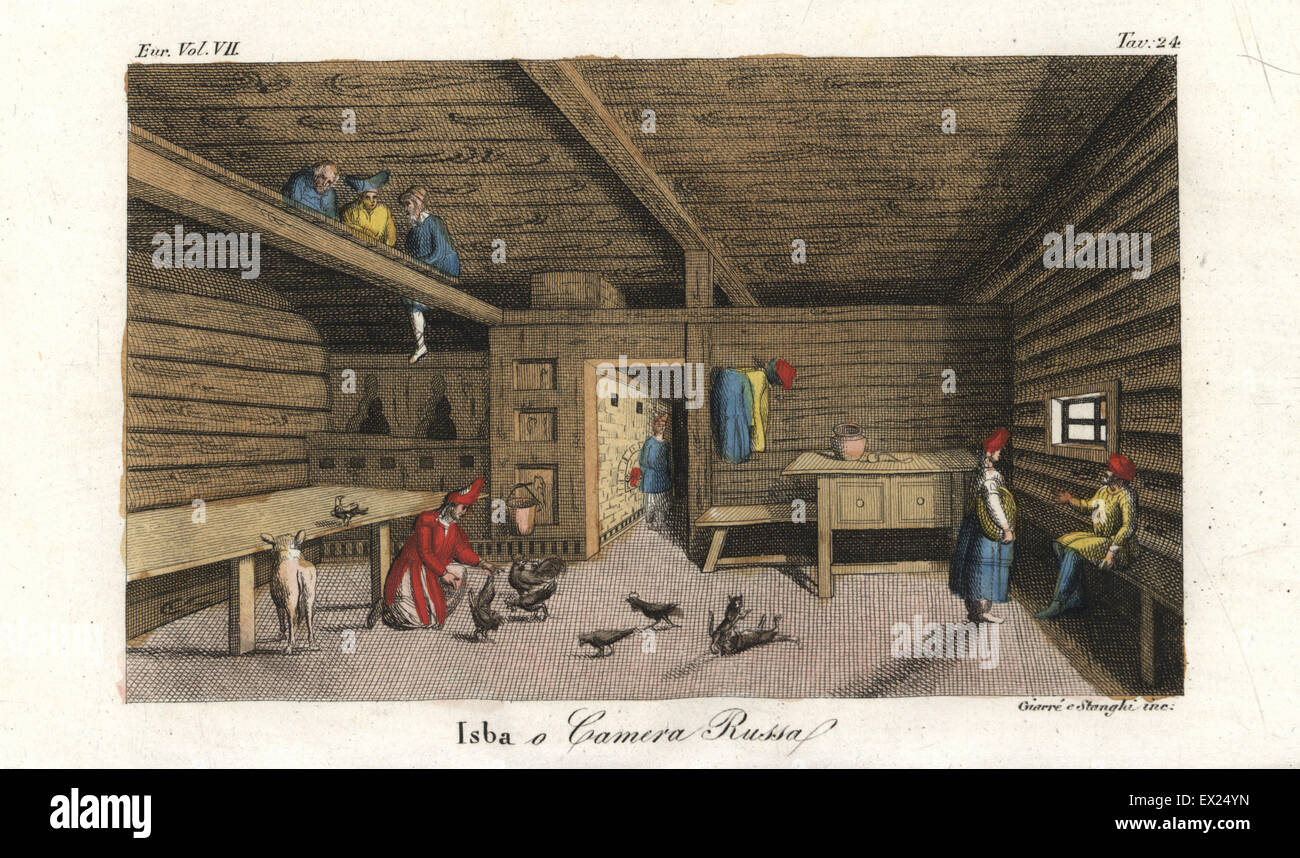 Interior of a traditional Russian loghouse or Izba, 18th century. Woman tending chickens in the living room, and - Stock Image
