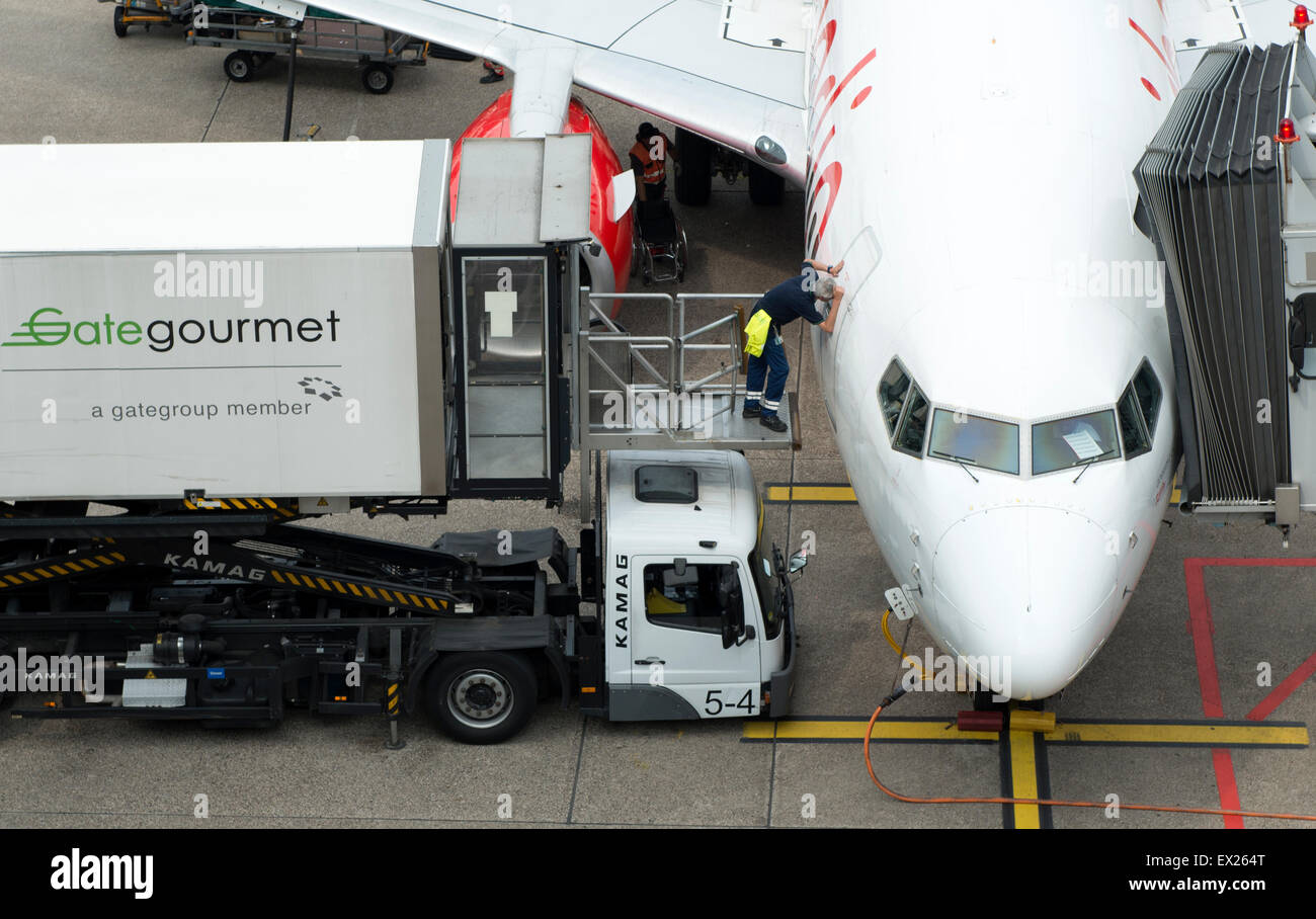 Airline caterers Gate Gourmet, Dusseldorf International Airport, Germany. - Stock Image