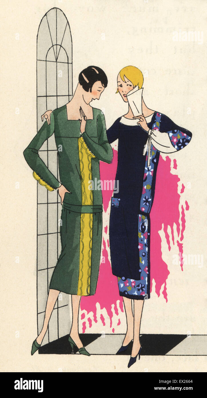 Woman in green and orange wool dress, and woman in marine blue rep dress with printed crepe de chine panel. Lithograph - Stock Image