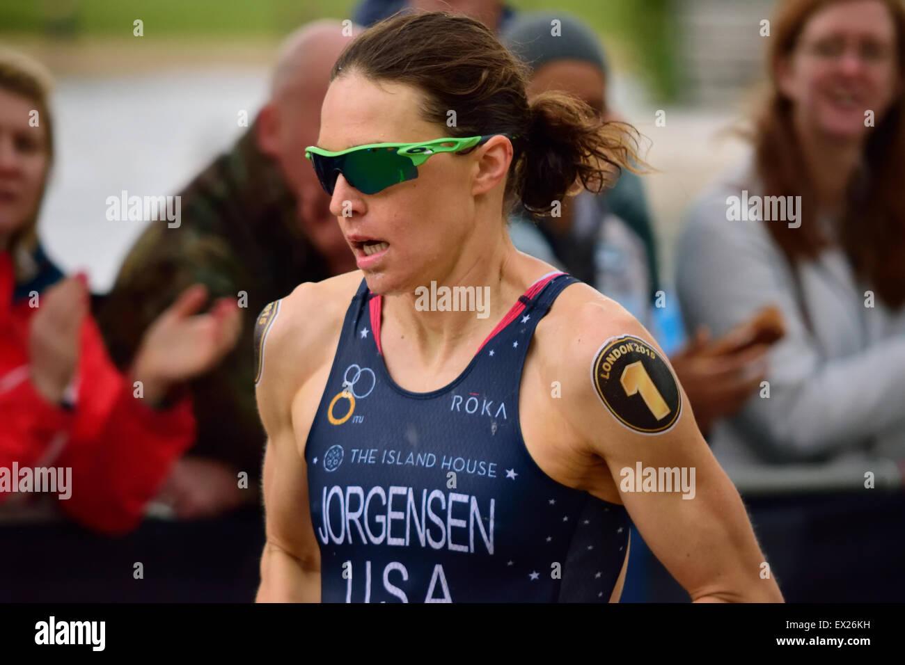 Gwen Jorgensen running in a race Stock Photo