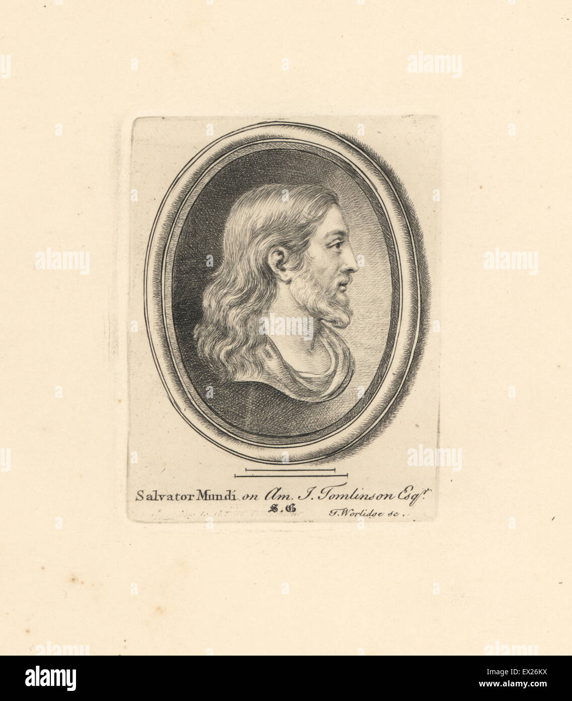 Portrait of Jesus Christ, Salvator Mundi, engraved on amethyst from the collection of J. Tomlinson. Copperplate - Stock Image