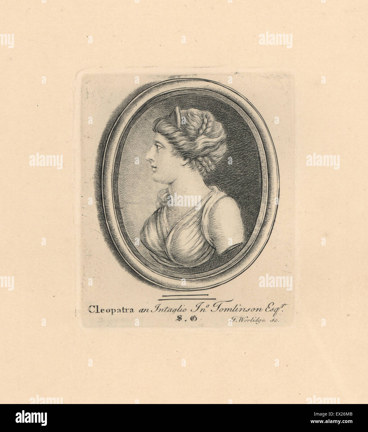 Portrait of Cleopatra, last Pharaoh of Egypt, from an intaglio in the collection of I. Tomlinson. Copperplate engraving - Stock Image