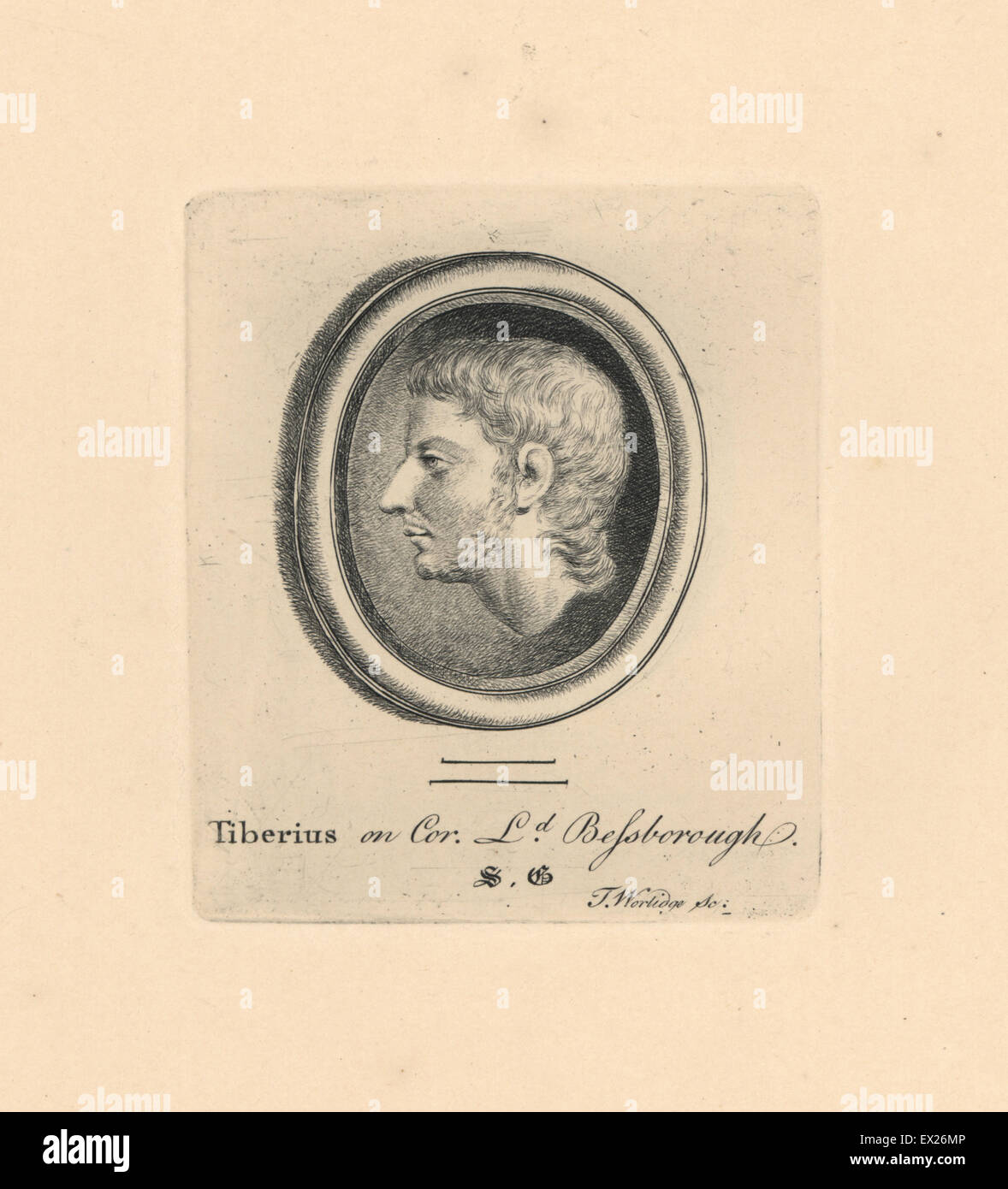 Portrait of Tiberius Caesar, Roman Emperor, on cornelian in the collection of Lord Bessborough. Copperplate engraving - Stock Image