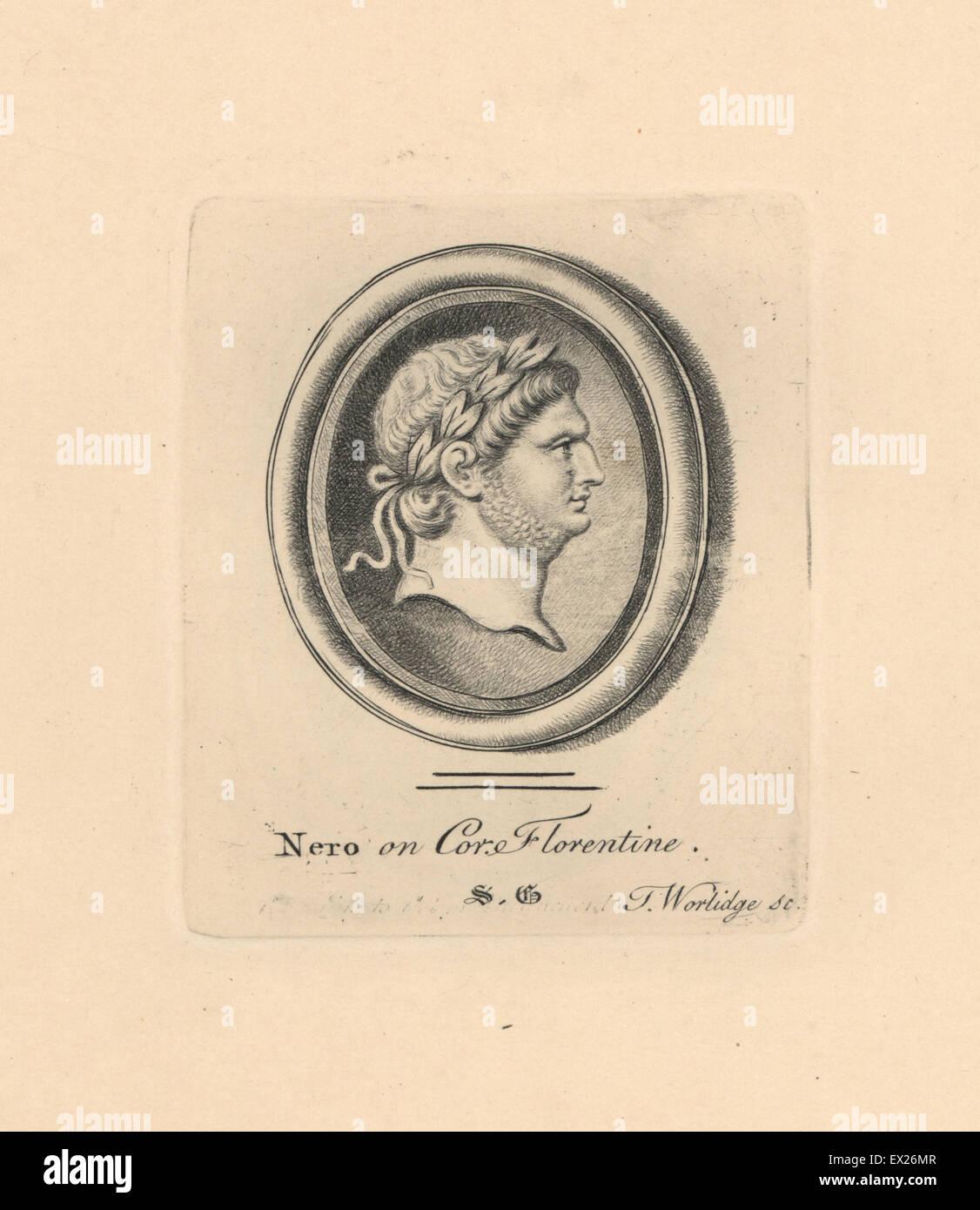 Portrait of Nero, Roman Emperor, in laurel wreath, engraved on Florentine cornelian. Copperplate engraving by Thomas - Stock Image