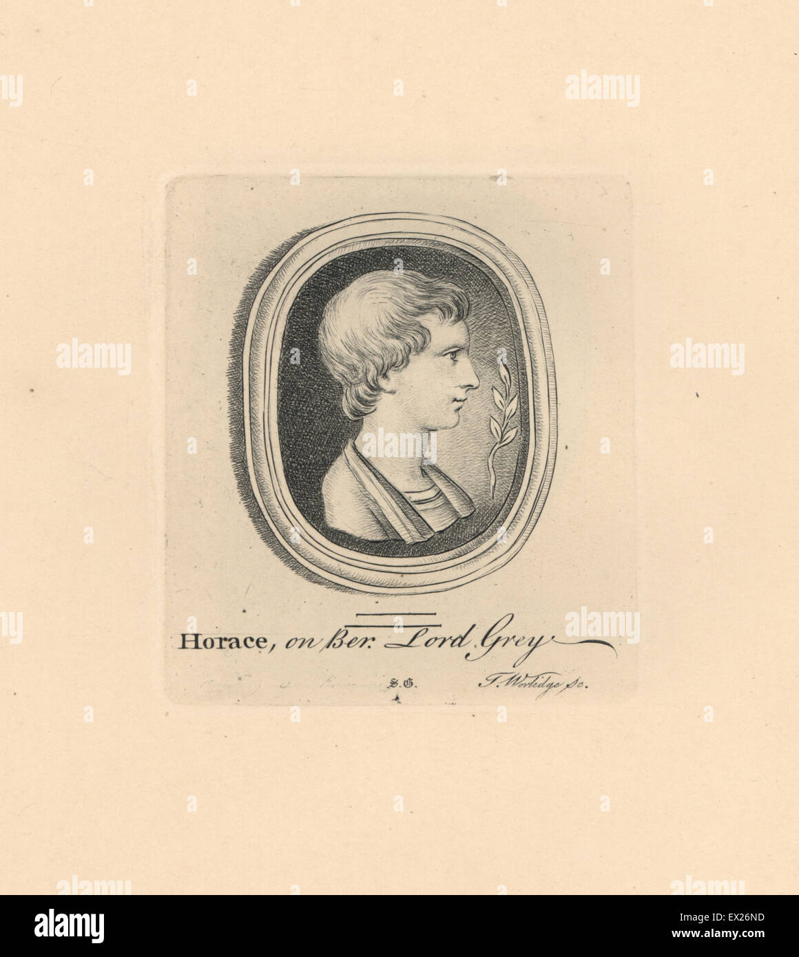 Portrait of Horace, Roman poet, on beryl from Lord Grey's collection. Copperplate engraving by Thomas Worlidge - Stock Image