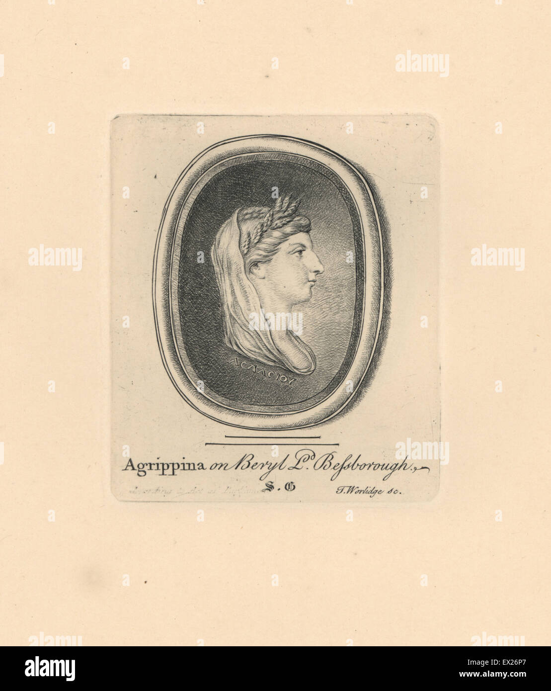 Portrait of Agrippina Minor, Roman Empress, wife to Claudius, with distinctive braided and curled hairstyle, on - Stock Image