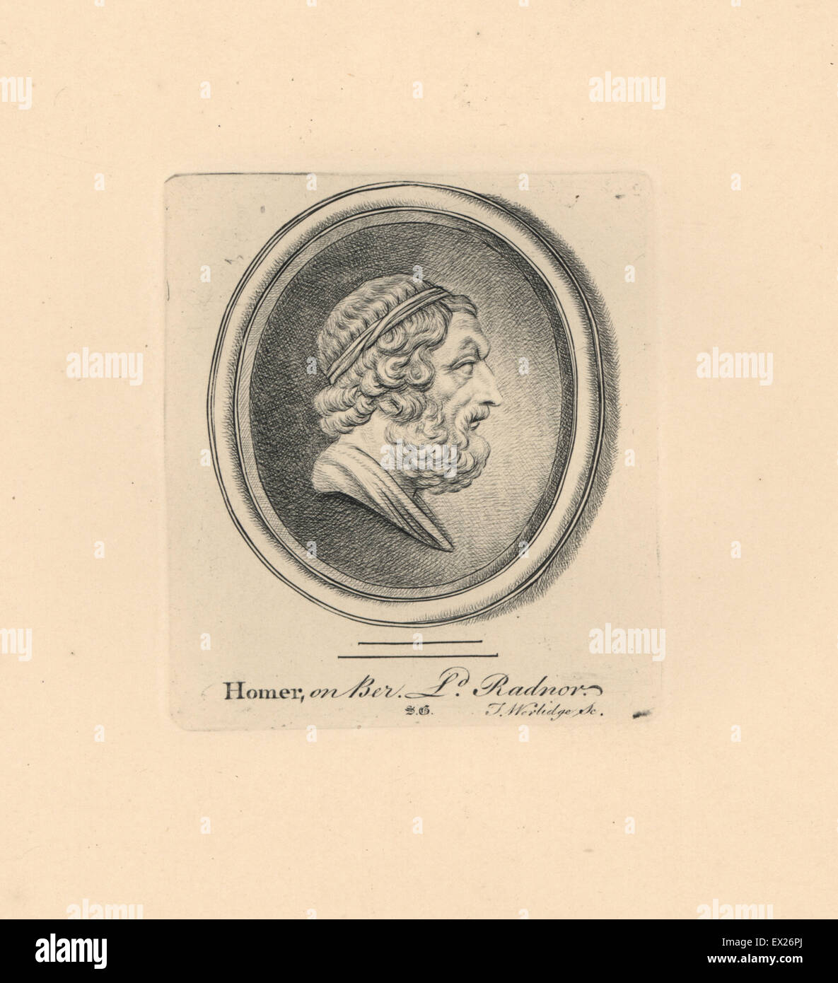 Portrait of Homer, Greek epic poet, on beryl from Lord Radnor's collection. Copperplate engraving by Thomas - Stock Image