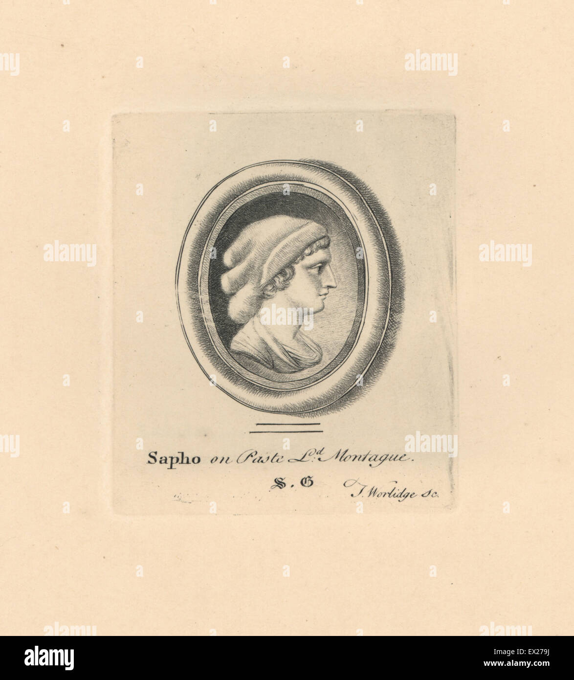 Portrait of Sapho or Sappho, Greek lyric poet from the island of Lesbos, in woven cap, on paste in Lord Montague's - Stock Image