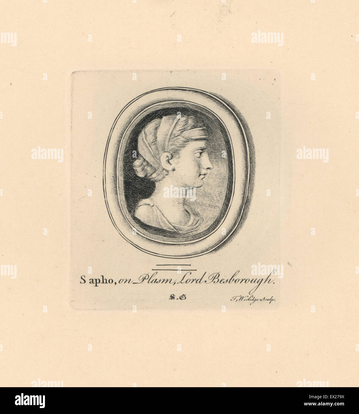 Portrait of Sapho or Sappho, Greek lyric poet from the island of Lesbos, with ribbons in hair, on plasma in Lord - Stock Image