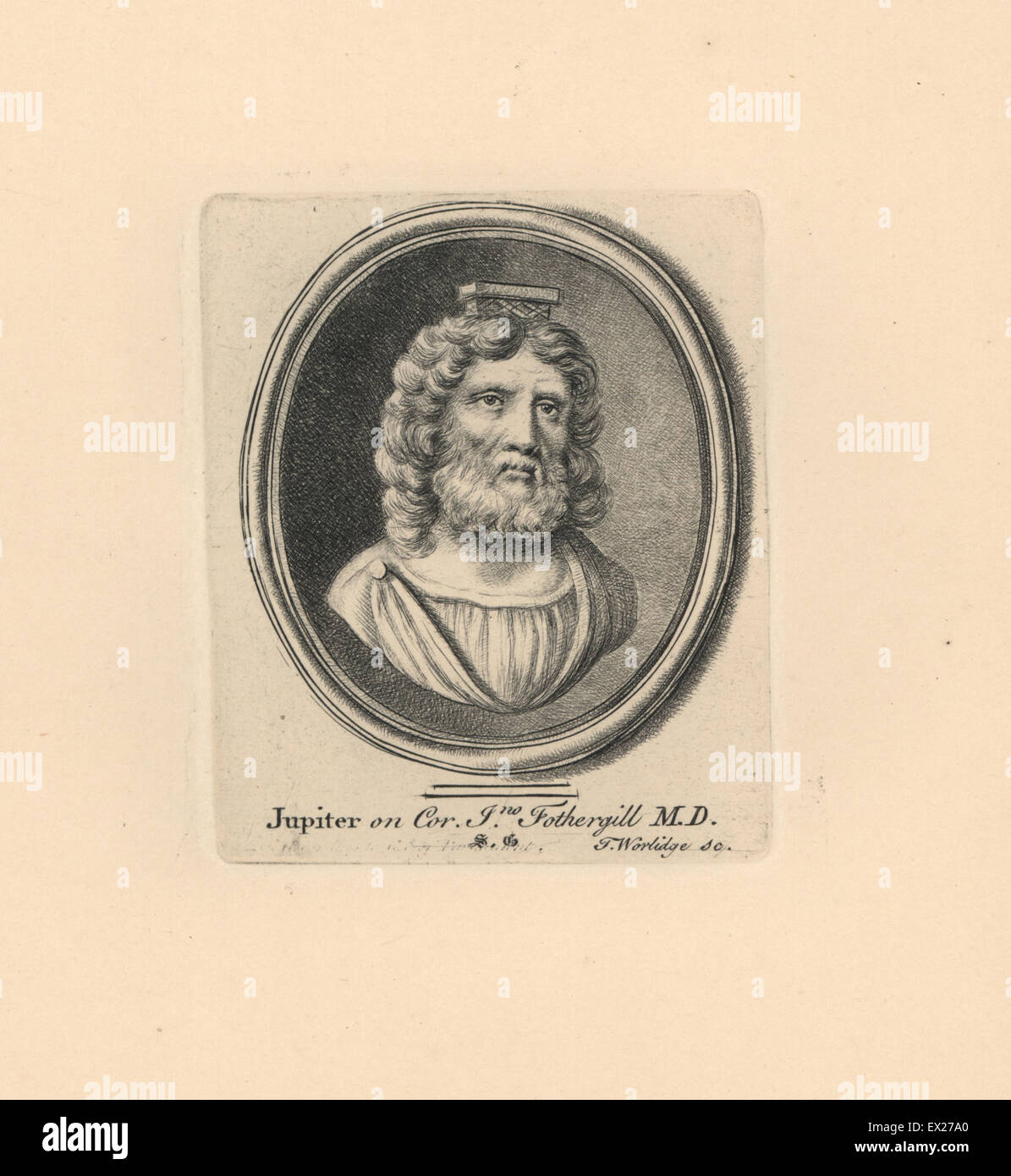 Portrait of Jupiter or Jove, Roman deity, on cornelian from the collection of John Fothergill M.D. Copperplate engraving - Stock Image
