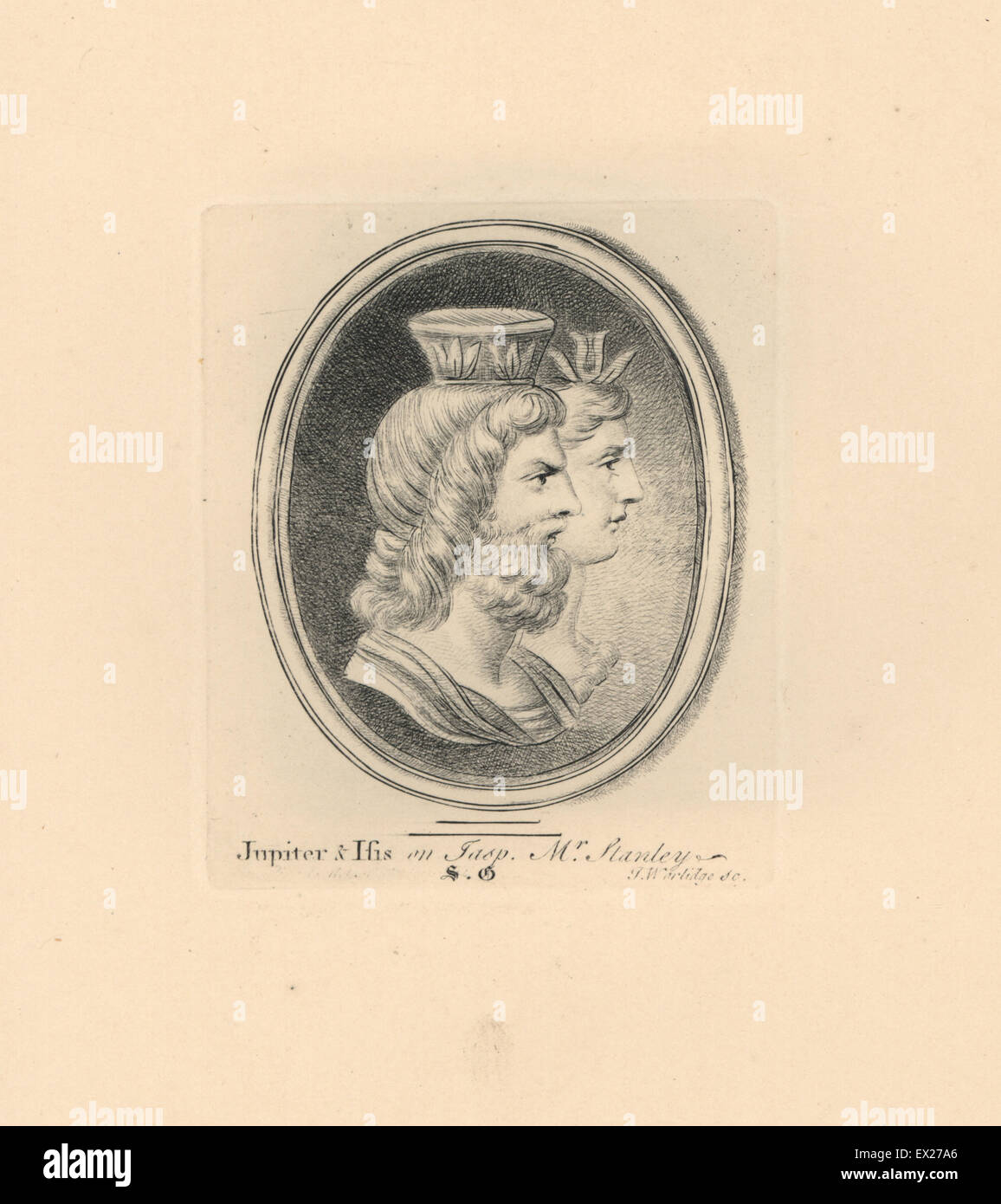 Portrait of Jupiter or Jove, Roman deity, with Isis, Egyptian goddess, on jasper from the collection of Mr Stanley. - Stock Image