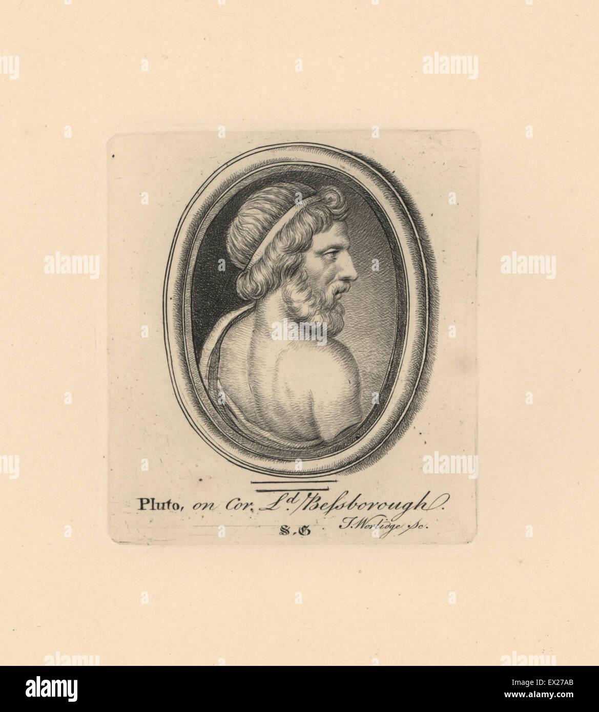 Portrait of Pluto, ruler of the underworld in classical mythology, on cornelian in Lord Bessborough's collection. - Stock Image