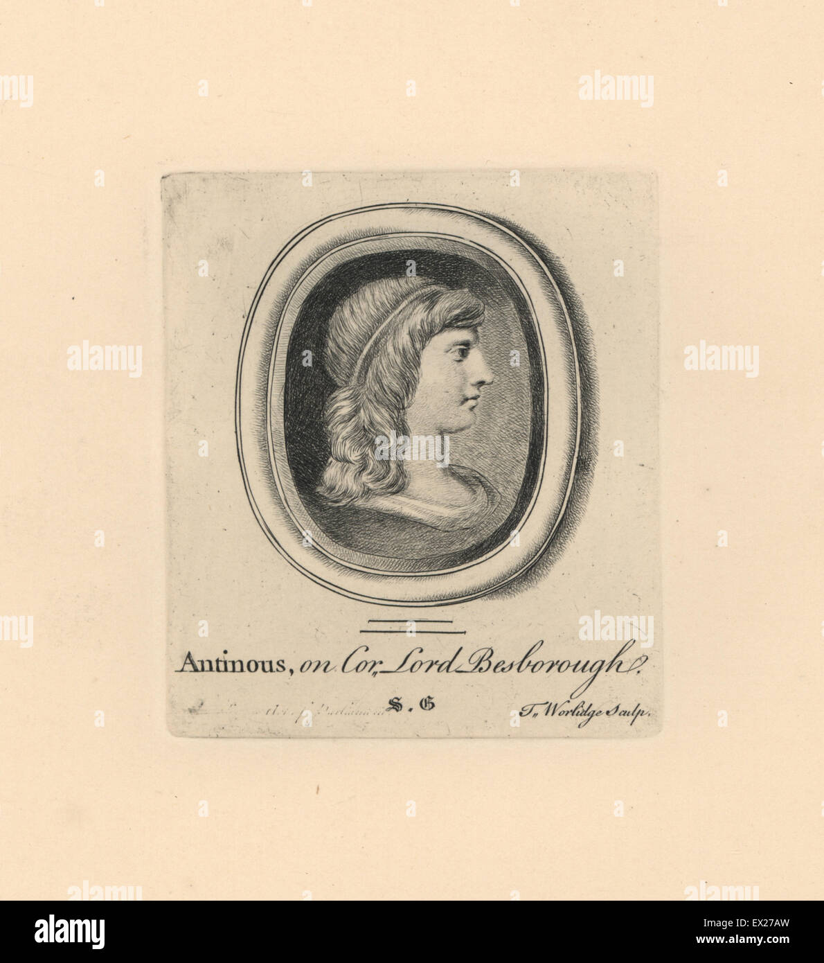 Portrait of Antinous, Bithynian Greek youth and lover of the Roman emperor Hadrian, on cornelian from Lord Bessborough's - Stock Image