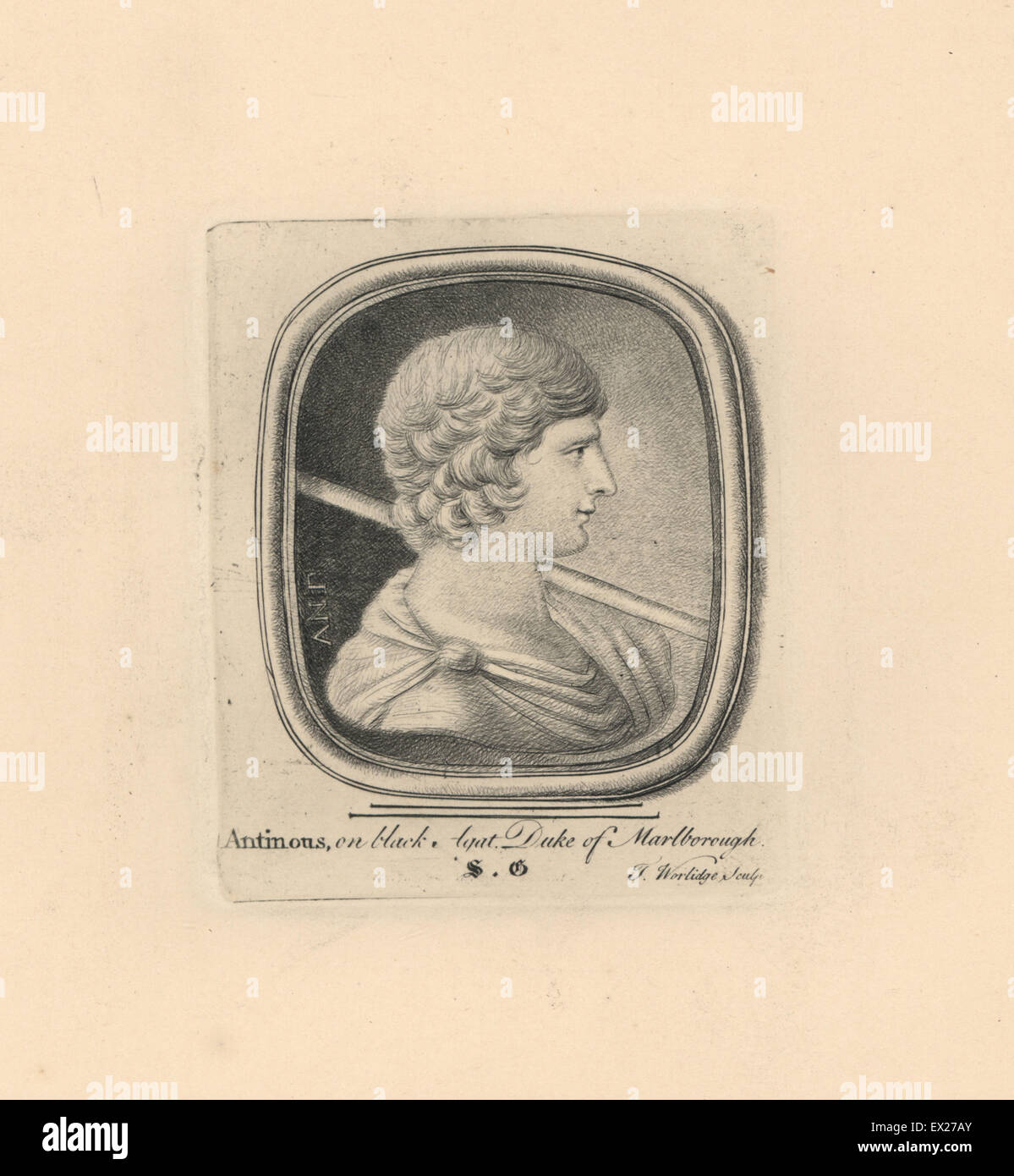 Portrait of Antinous, Bithynian Greek youth and lover of the Roman emperor Hadrian, on black agate from the Duke - Stock Image