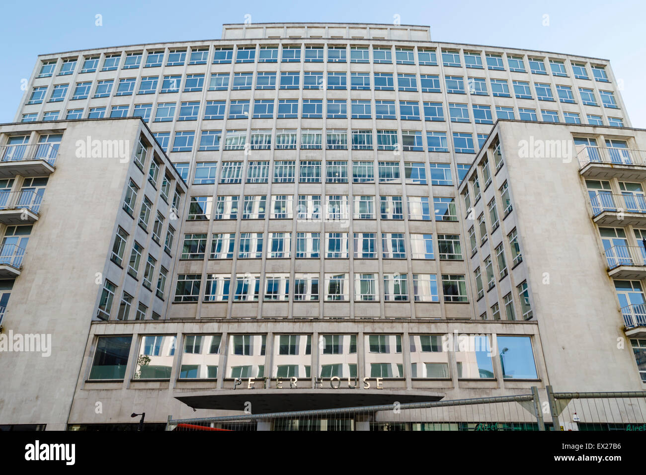 Peter House, Manchester, a large postwar office development designed by Amsell & Bailey, 1958. - Stock Image