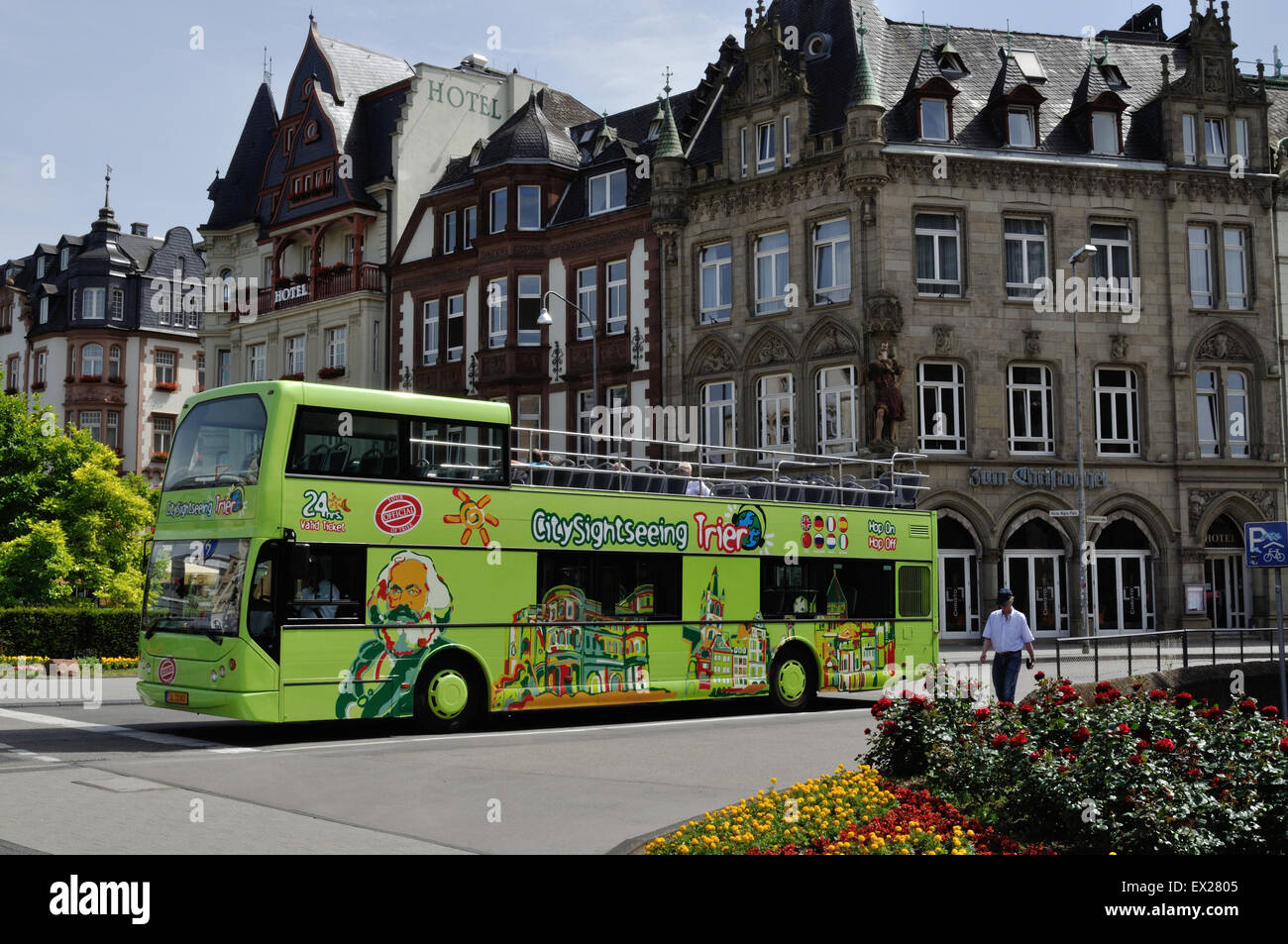 City Sightseeing bus in Trier, Germany. Luxembourg registration SL 3240. Volvo/East Lancs Vyking. - Stock Image