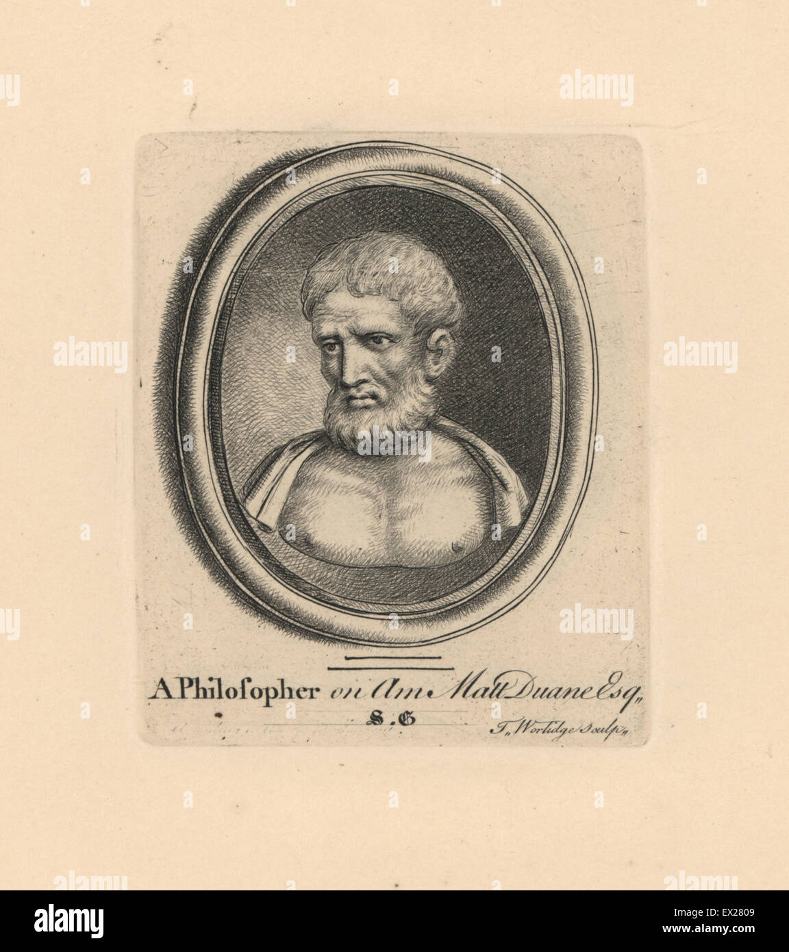 Portrait of an ancient Greek Philosopher on amethyst from Matthew Duane's collection. Copperplate engraving - Stock Image