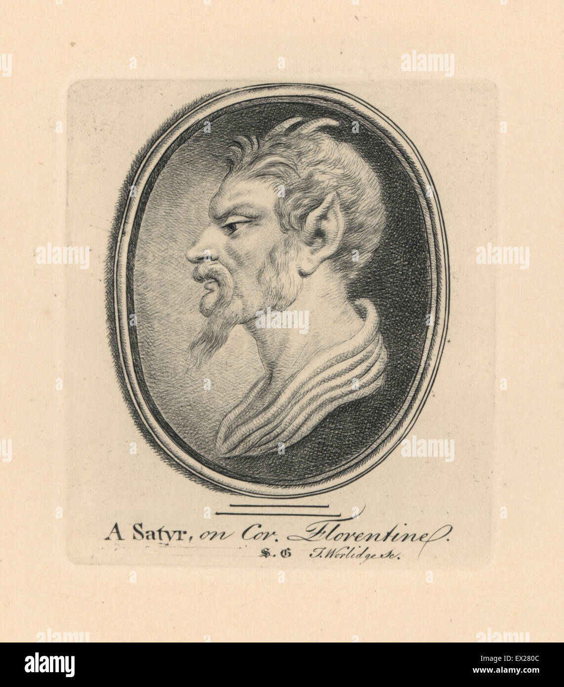 Portrait of a Satyr, with goat horns and pointed ears, on Florentine cornelian. Copperplate engraving by Thomas - Stock Image