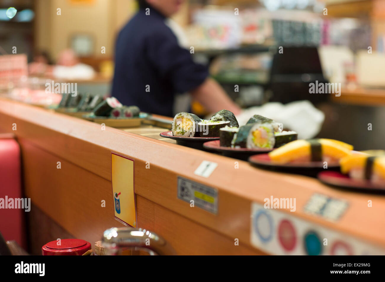 Rotation sushi at Japanese restaurant. - Stock Image