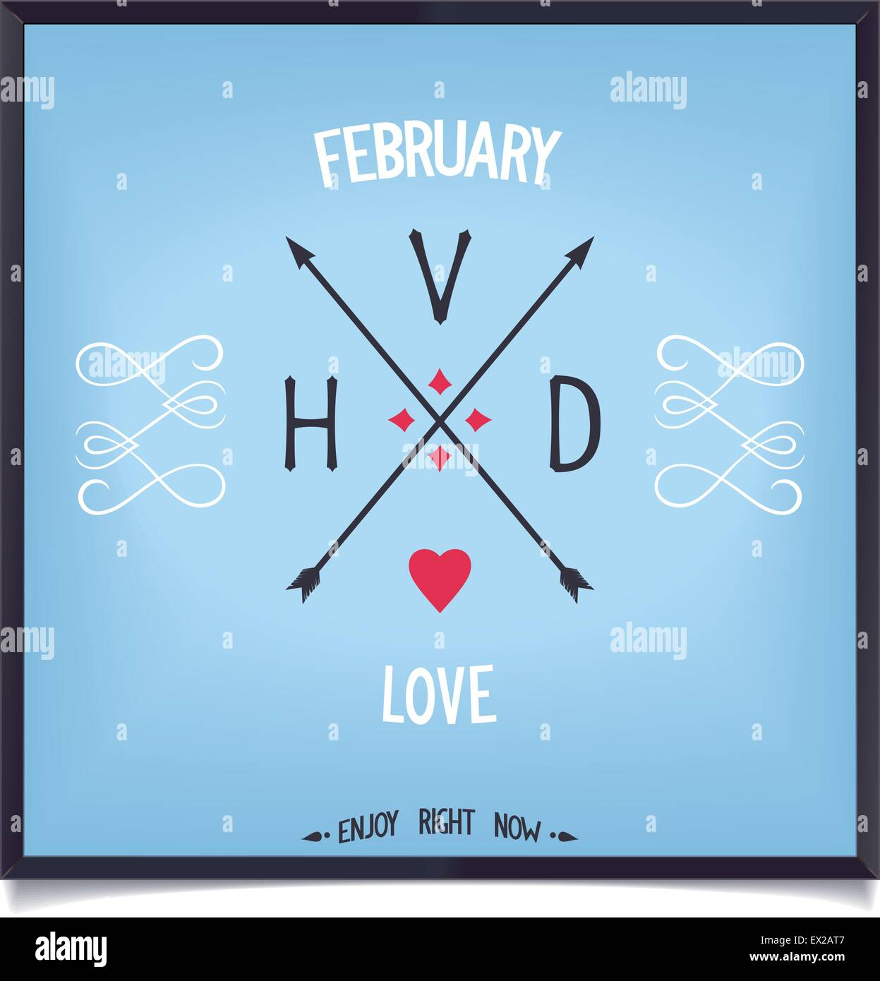 Sign of Valentine's Day, love in February enjoy. Vector print eps8 - Stock Vector