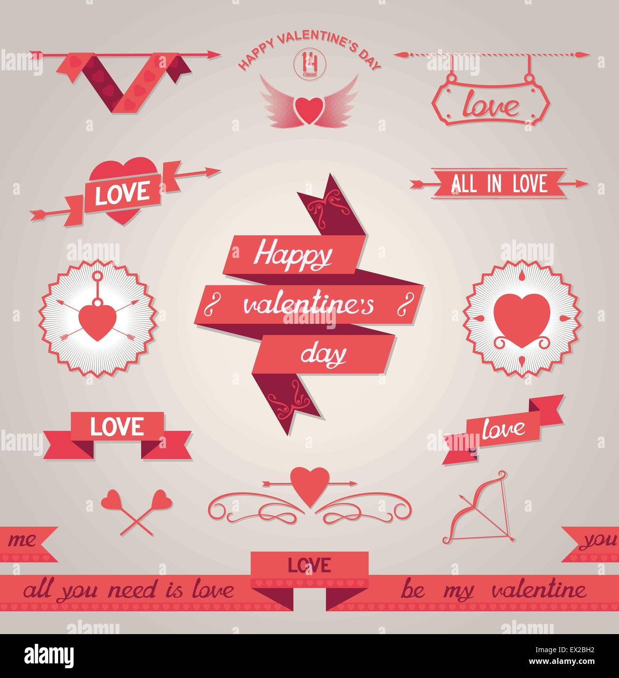 Set of design elements for Valentine's Day. Vector eps8 - Stock Vector