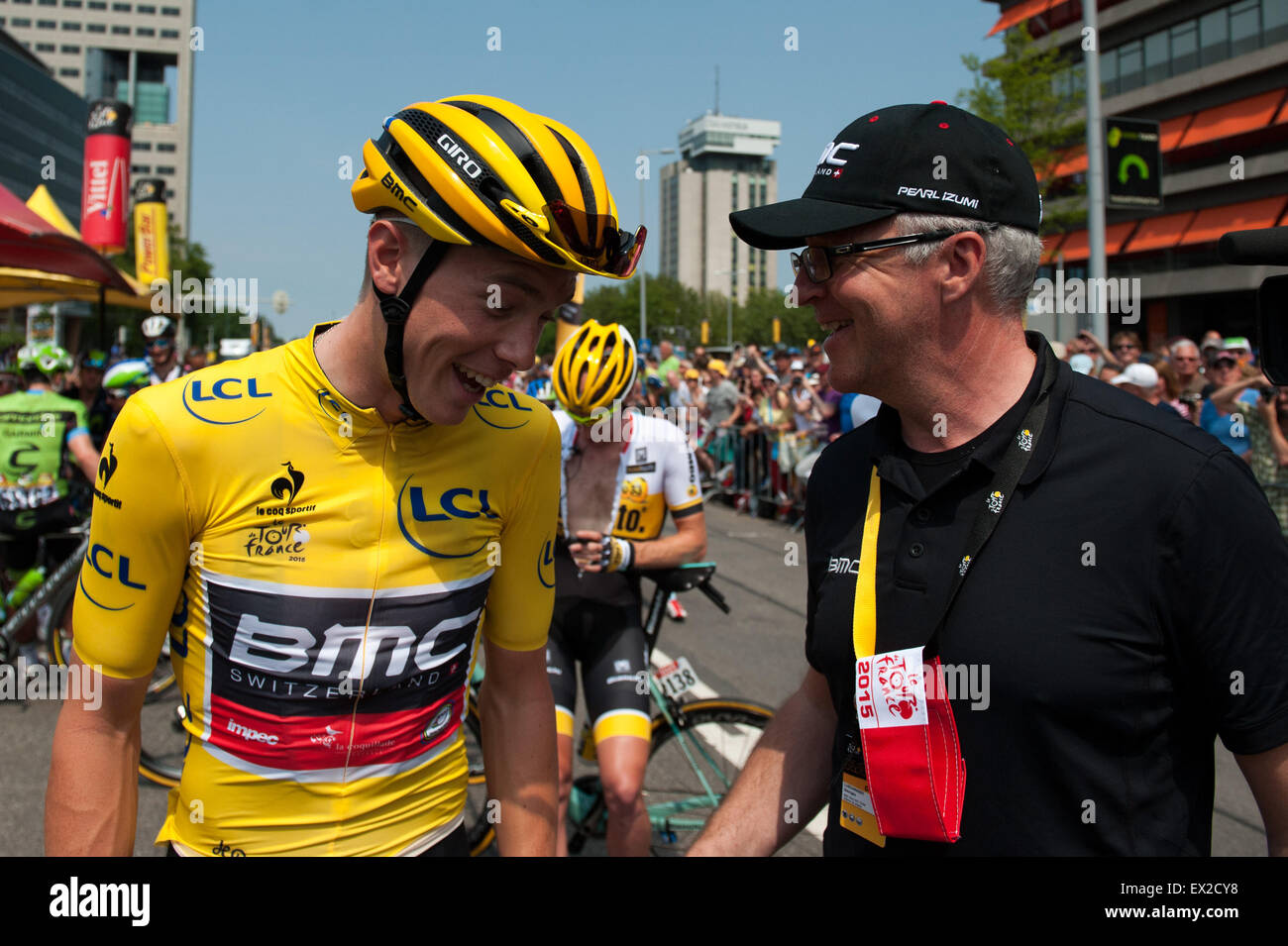 Utrecht, Netherlands. 04th July, 2015. Rohan Dennis punctures ahead of stage 2 of the 2015 Tour De France Utrecht - Stock Image