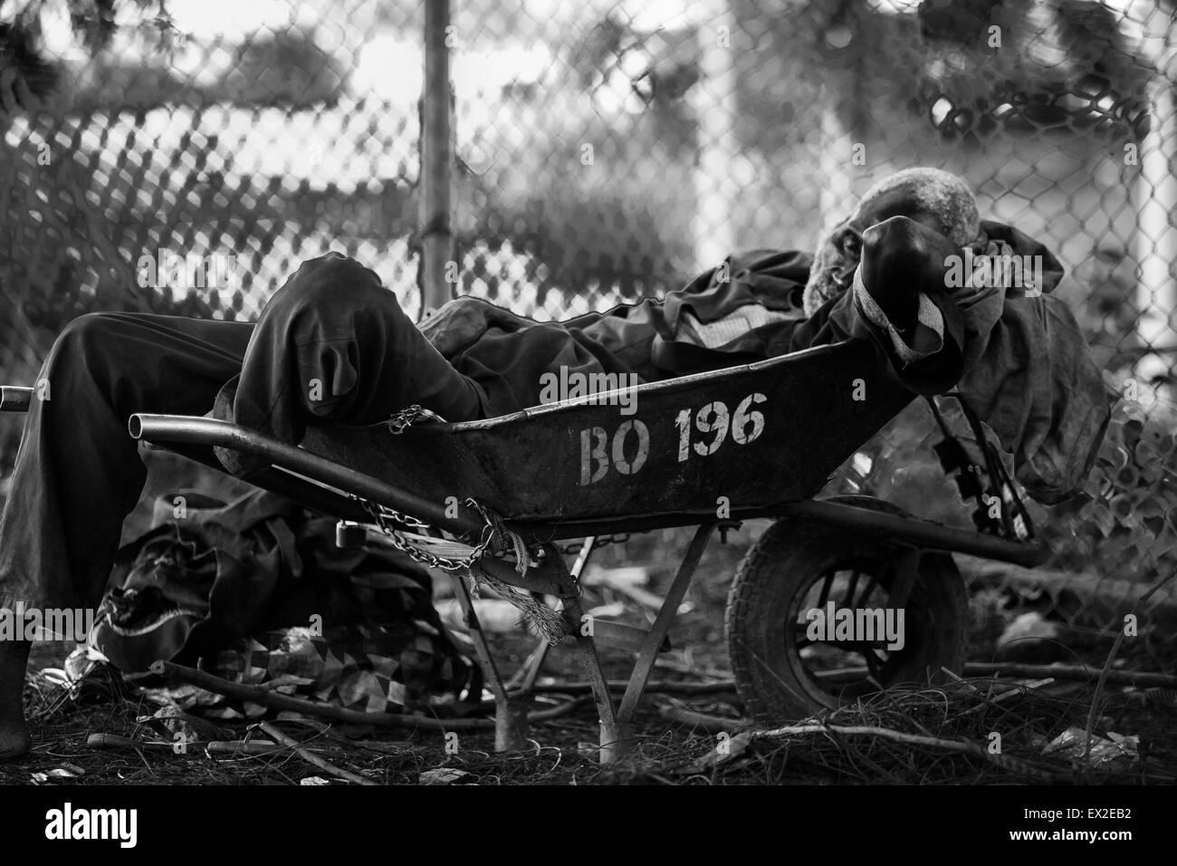Old wheelbarrow man sleeping in his barrow - Stock Image