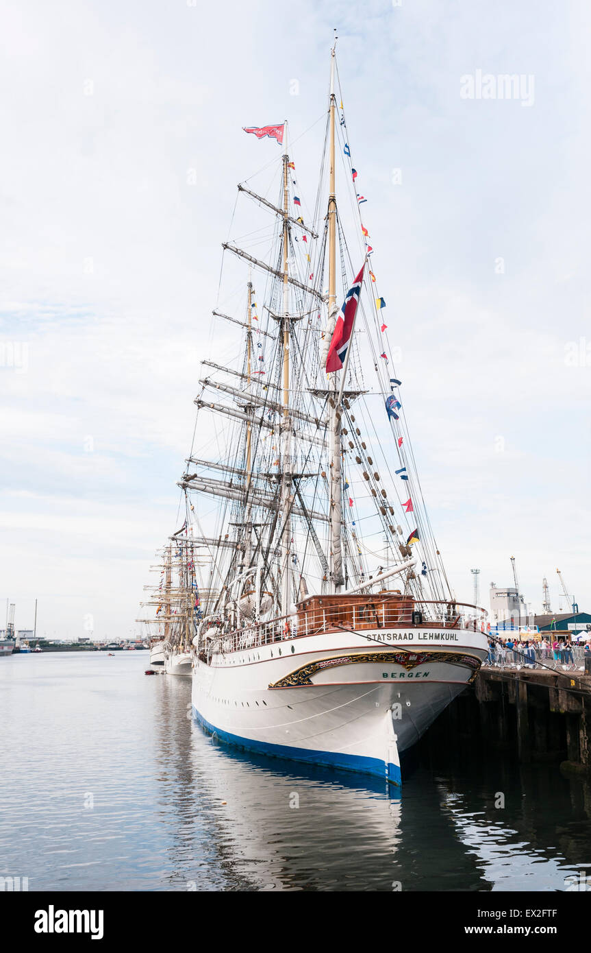 The Tall Ship Statsraad Lehmkuhl docked in Belfast as part of the Tall Ships festival - Stock Image