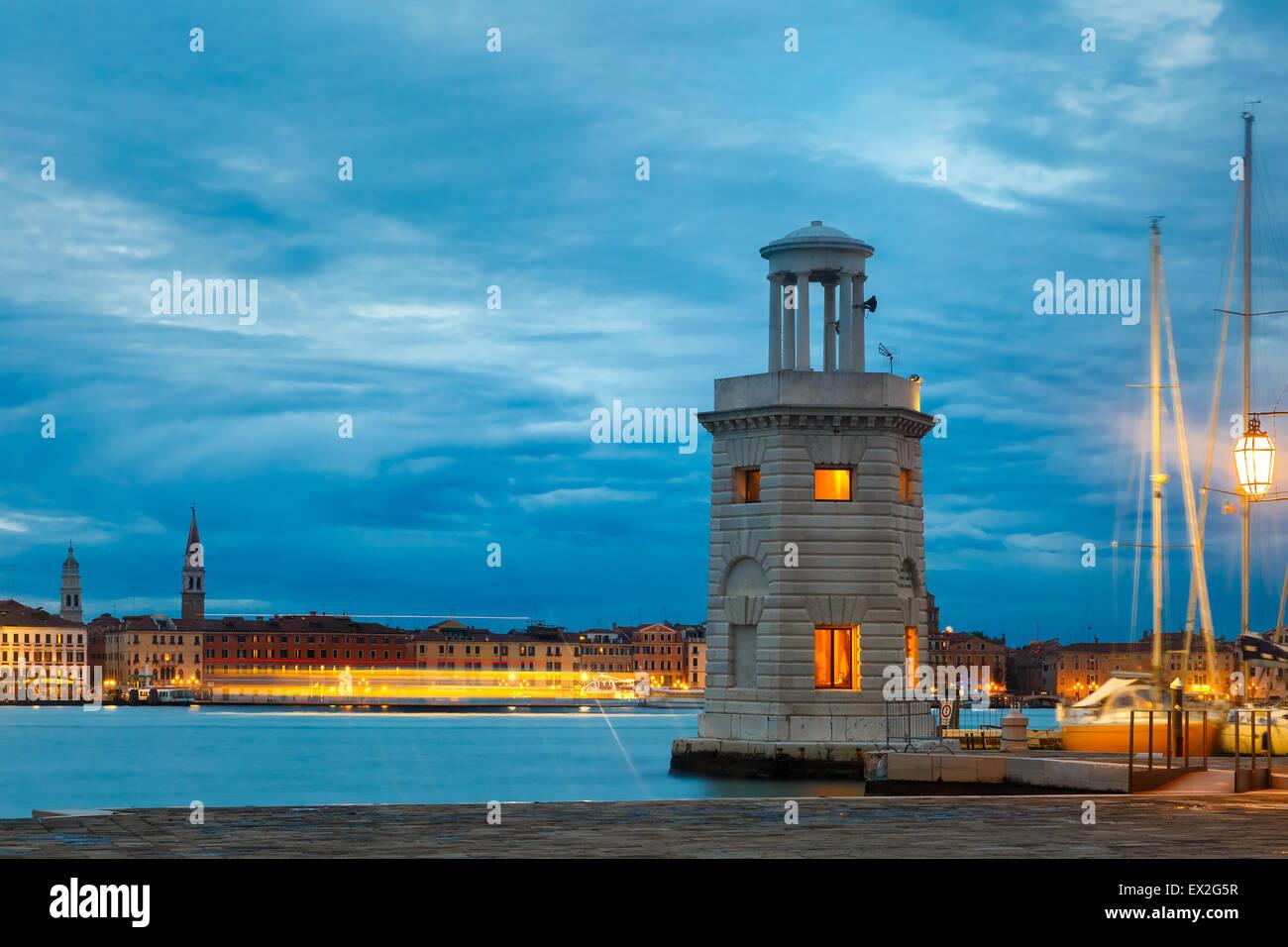Lighthouse on island San Giorgio Maggiore, Venice Stock Photo