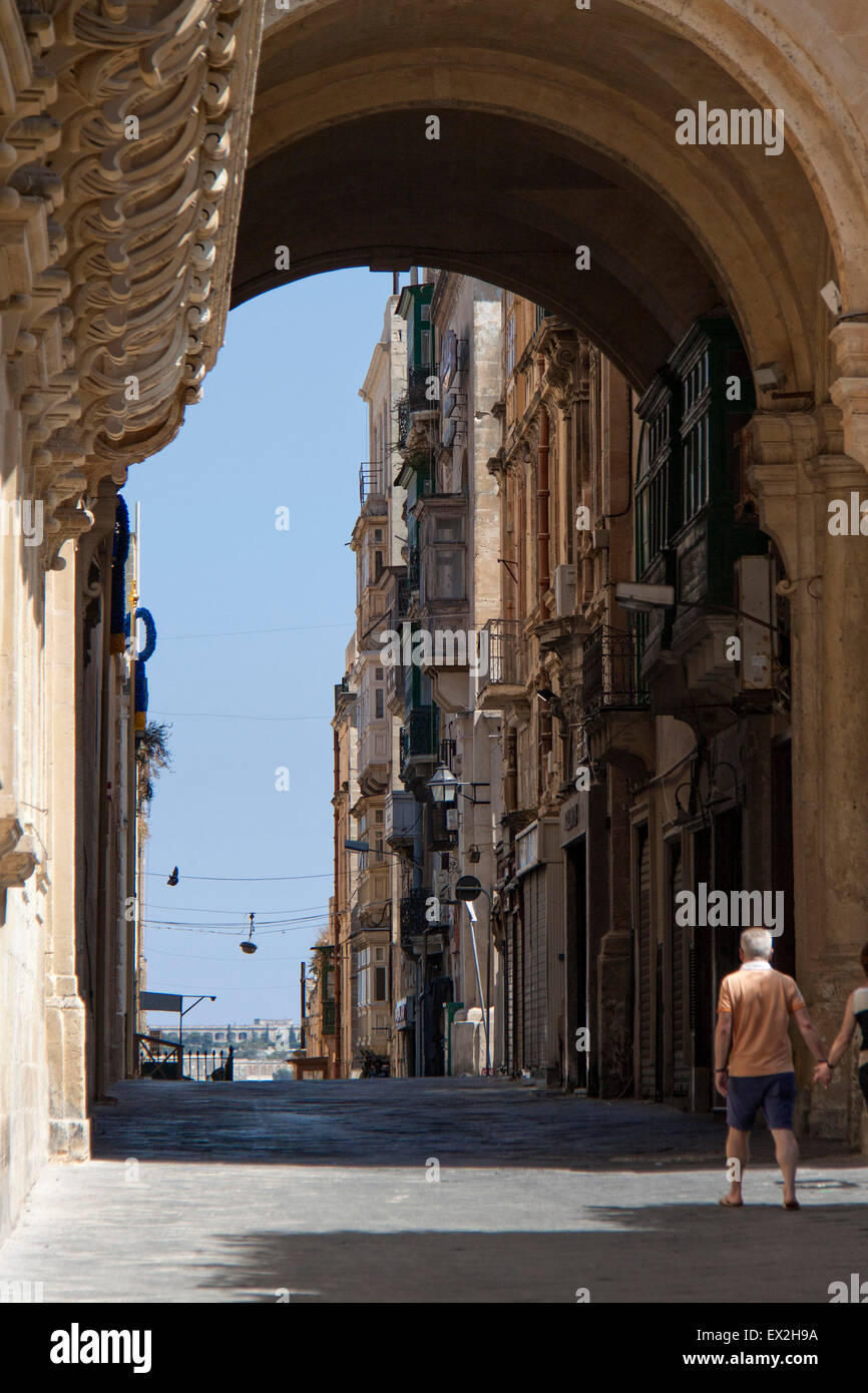 A lovely archway in the city of Valletta, Malta - Stock Image