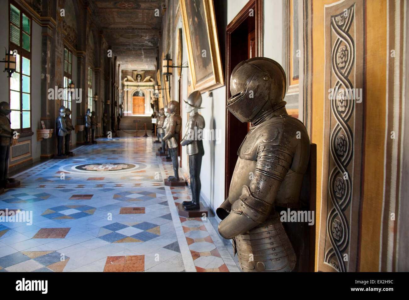 Suits of Armour in Malta's Palace state rooms in Valletta - Stock Image