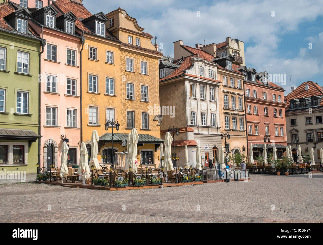 Example of colourful architecture found in Old Town, Warsaw, a UNESCO World Heritage Site,  Poland - Stock Image