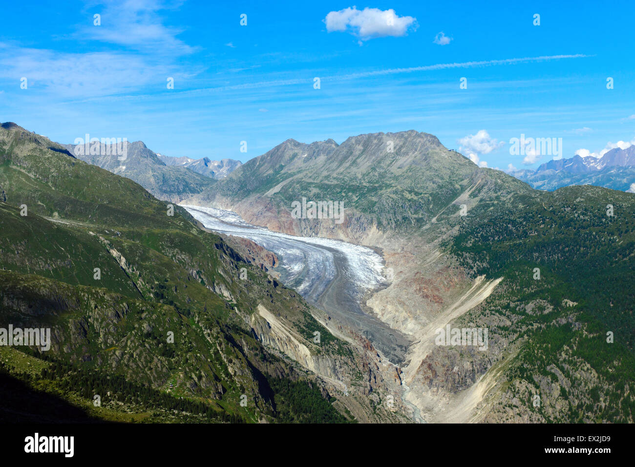 The impressing Aletsch glacier in the swiss alps - Stock Image