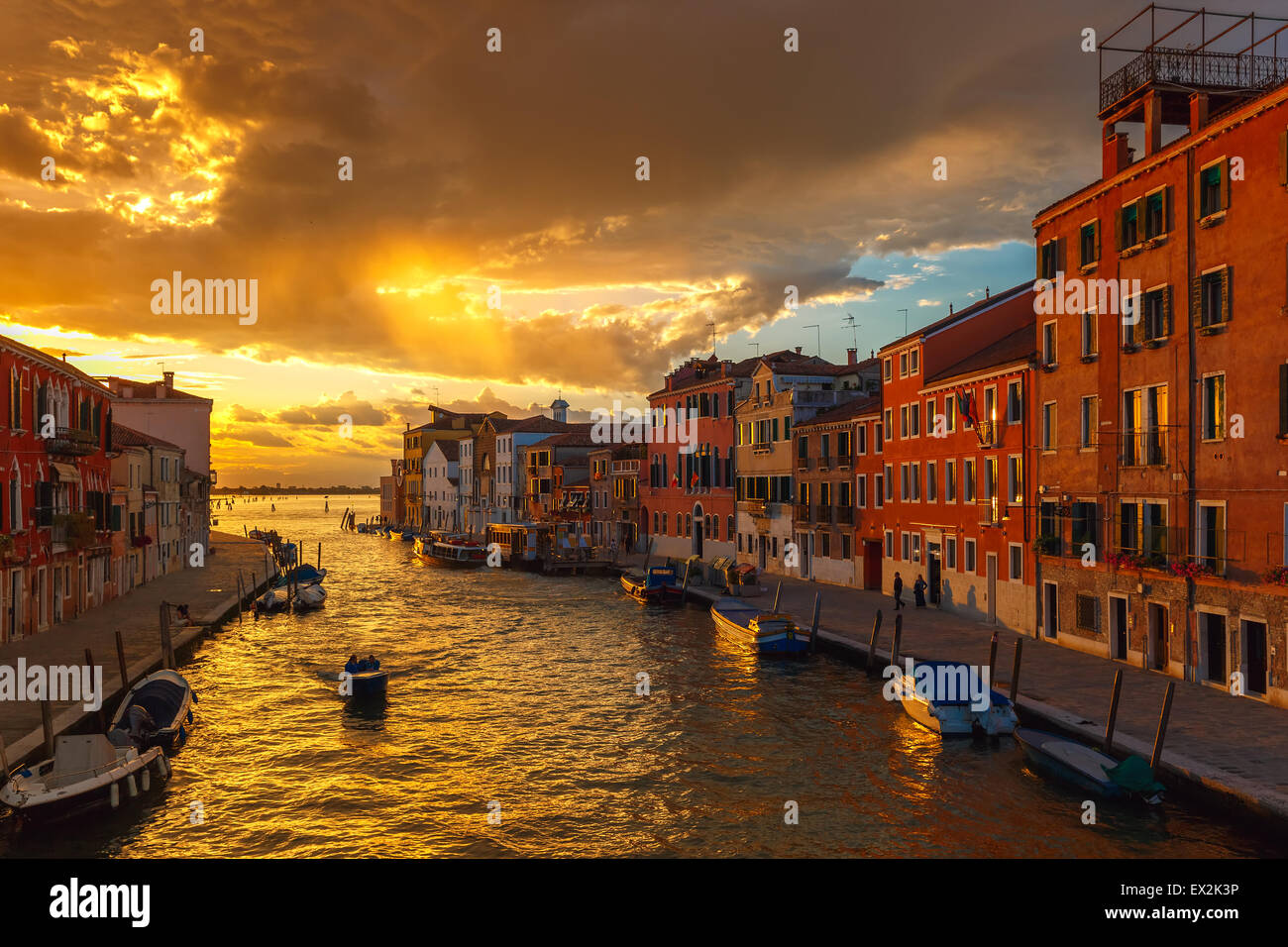 Sunset on canal Cannaregio in Venice, Italy Stock Photo