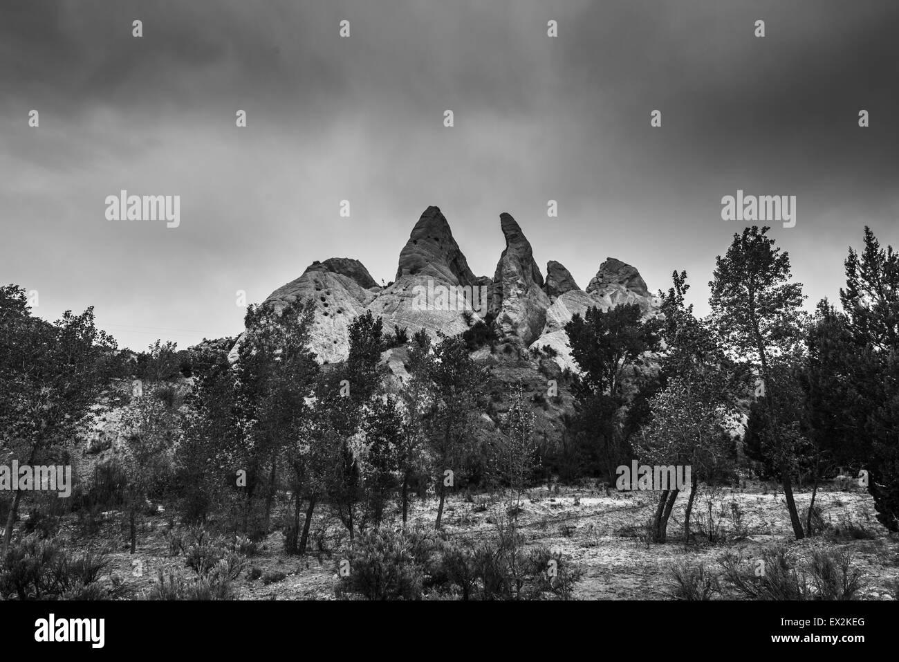 Black and White Landscape Utah Cottonwood Canyon Road Escalante Stock Photo