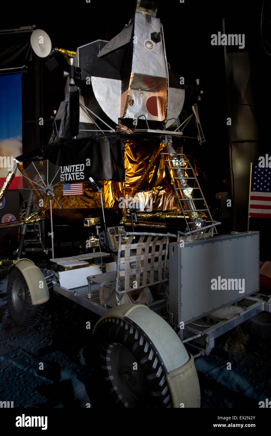 A lunar lander is one of the featured displays at Davidson Center for Space Exploration, Huntsville, AL - Stock Image