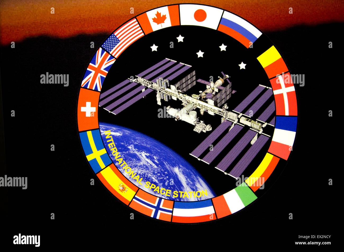 Logo for NASA's International Space Station (ISS), commanded from the Marshall Space Flight Center in Huntsville, - Stock Image