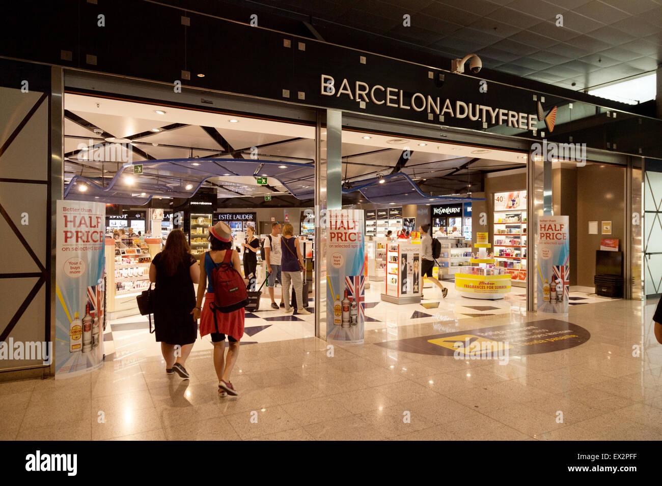 Duty Free shop, El Prat airport, Barcelona, Spain Europe - Stock Image