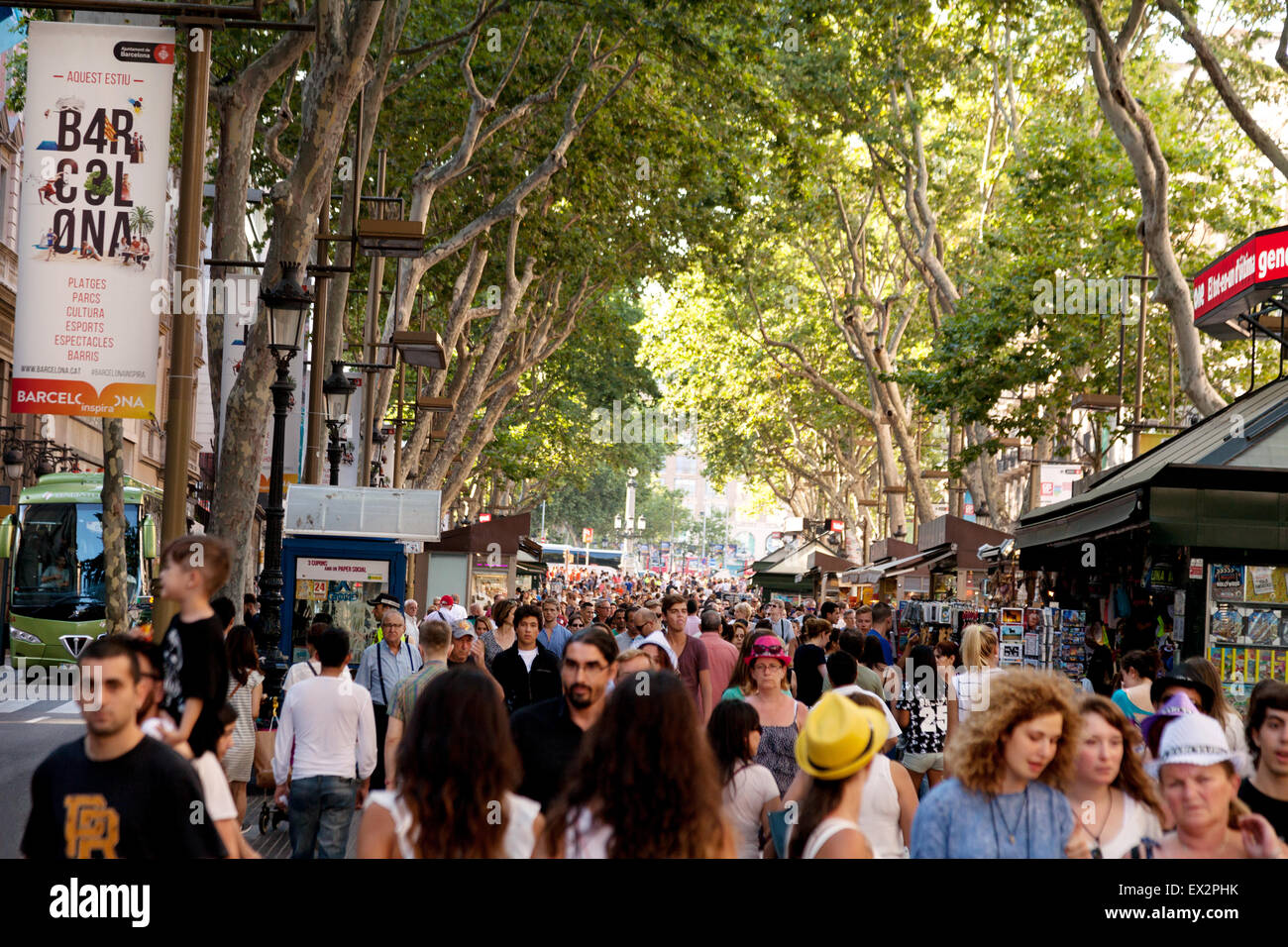 Crowds of people on Las Ramblas walkway, Barcelona, Spain Europe - Stock Image