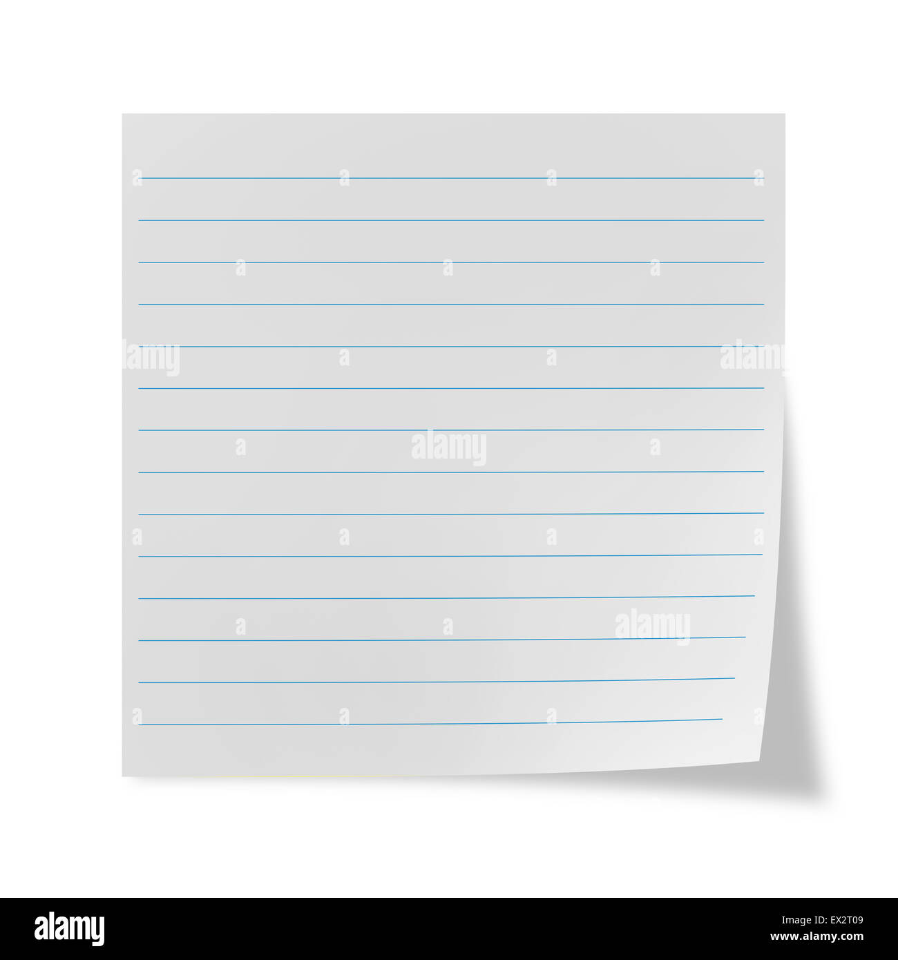 White lined sheet on a white background - Stock Image