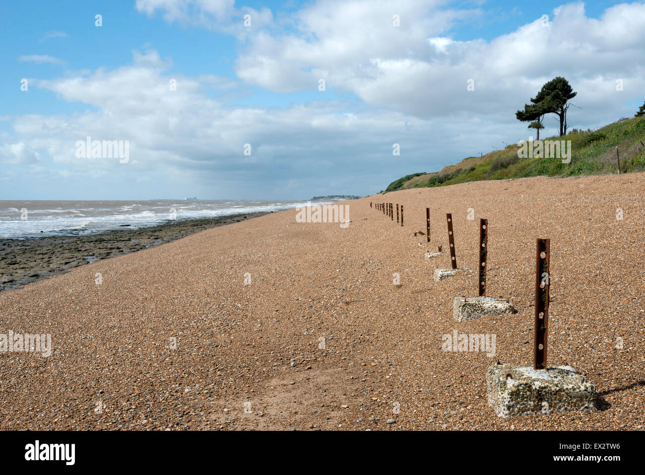 Anti-invasion defences from World War Two protecting the former RAF radar station at Bawdsey Ferry, Suffolk, UK. - Stock Image