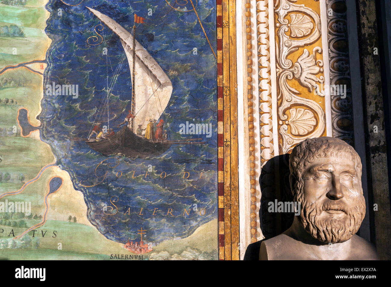 The Gallery of Maps, Galleria delle carte geografiche, a map gallery on the west side of the Vatican Museums - Stock Image